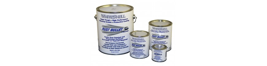 """ Rust Bullet WhiteShell Gloss"", anti-rust treatment industrial rust paint coating."